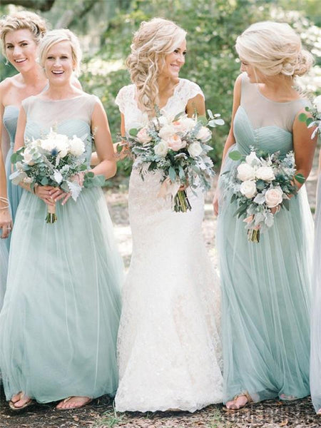 A-line Floor-length Bateau Sleeveless Mint Tulle Long Bridesmaid Dresses, BD1053