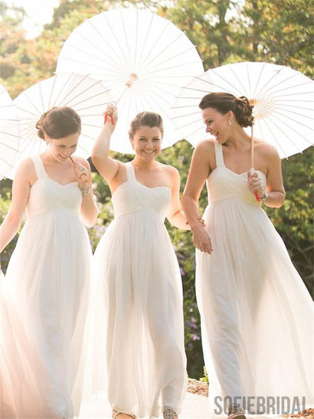 A-line One-shoulder Sweetheart Long Chiffon Bridesmaid Dresses, BD1052