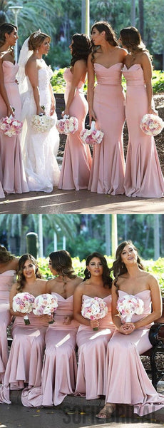 Mermaid Sweetheart Long Pink Cheap Bridesmaid Dresses, PD0972