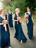A-Line V-Neck Backless Navy Blue Cheap Bridesmaid Dress, BD1008