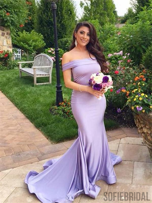 Mermaid Off-shoulder Simple Lilac Bridesmaid Dresses, PD0971