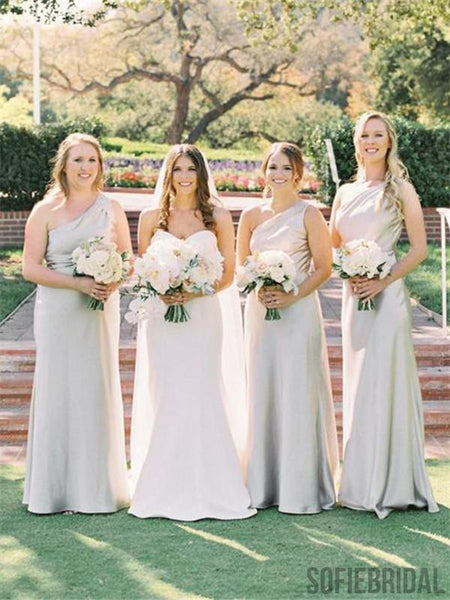 One-shoulder Floor-length Simple Cheap Bridesmaid Dress, BD1003