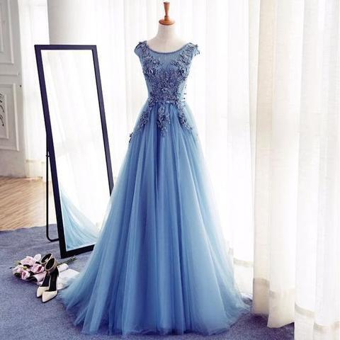 Scoop Neckline Blue Appliques Long A-line Tulle Elegant Prom Dresses, PD0557