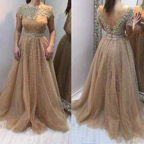 Scoop Neckline Long A-line V-back Lace Beaded Tulle Prom Dresses, PD0558