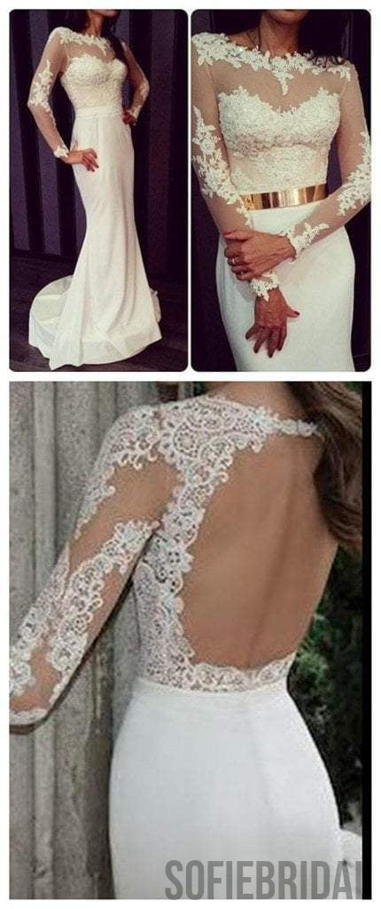 Popular Round Neck White Lace Jersey Long Sleeve Mermaid Prom Dresses with Gold Belt, PD0548