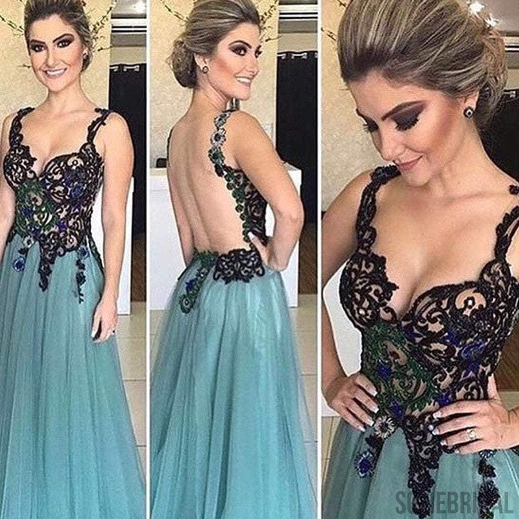 Gorgeous Beaded Backless Sexy Long A-line Tulle 2017 Prom Dresses, PD0529