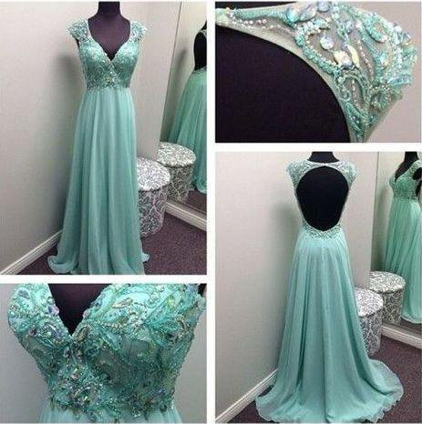 Elegant Beaded Green Rhinestone Open Back Long A-line Chiffon Prom Dresses, PD0525