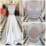 Two Pieces Scoop Neckline Rhinestone Beaded Long A-line Ivory Satin Prom Dresses, PD0587