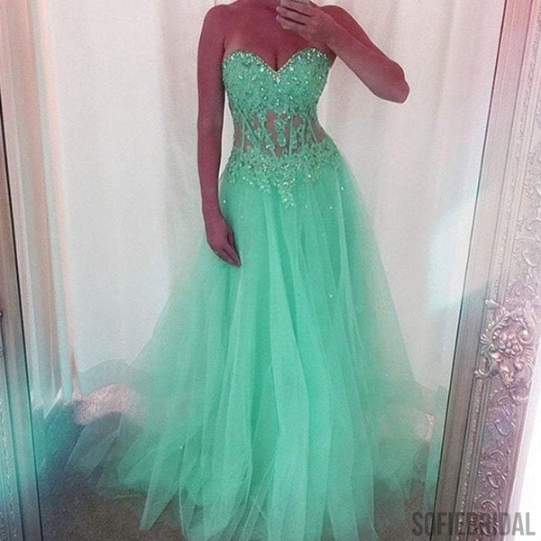 Sweetheart Long A-line Green Tulle Sheer Rhinestone Long Prom Dresses, PD0577