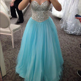 Sweetheart Sparkle Rhinestone Beaded Long A-line Blue Tulle Party Prom Dresses, PD0580