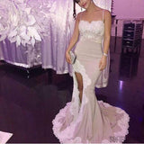 Spaghetti White Lace Sexy Mermaid Side Slit Popular Cheap Prom Dresses, Bridesmaid Dresses, PD0289