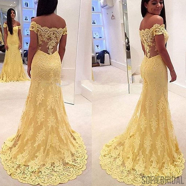Off Shoulder Yellow Lace Long Mermaid Sheer Long Prom Dresses, PD0545