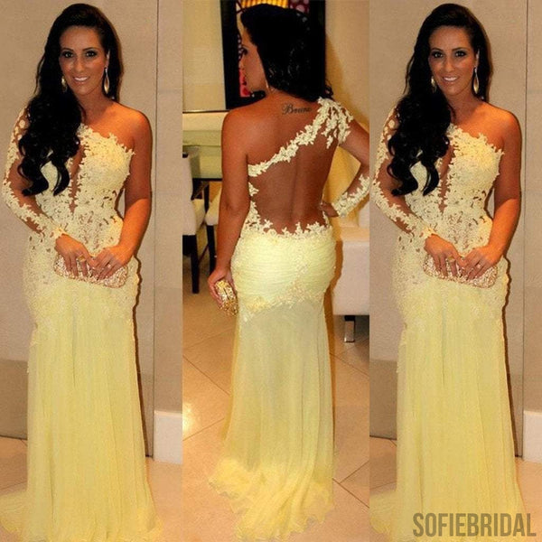 One Shoulder Sexy Sheer Yellow Lace Long Mermaid Chiffon Prom Dresses, PD0546