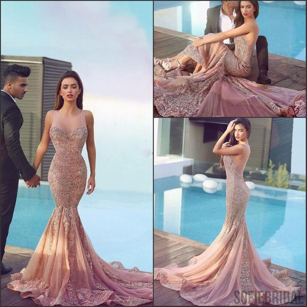 Illusion Nude Tulle Lace Beaded Luxury Long Mermaid Prom Dresses, PD0533