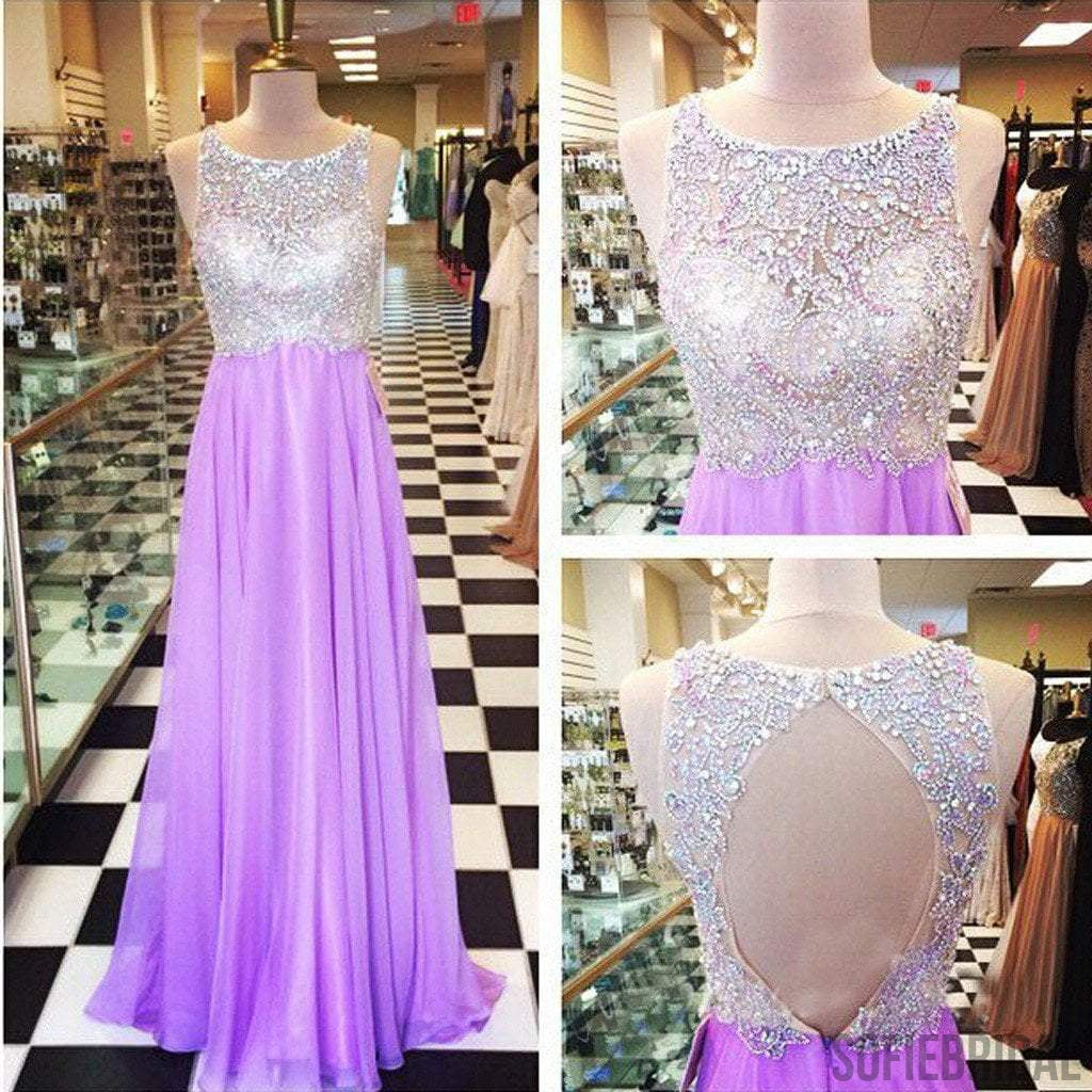 Round Neck Rhinestone Beaded Light Purple Long A-line Chiffon Prom Dresses, PD0553