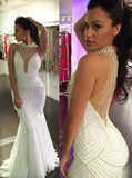 Luxury Pearl Sexy See Through Long Mermaid Tulle Prom Dresses, PD0537