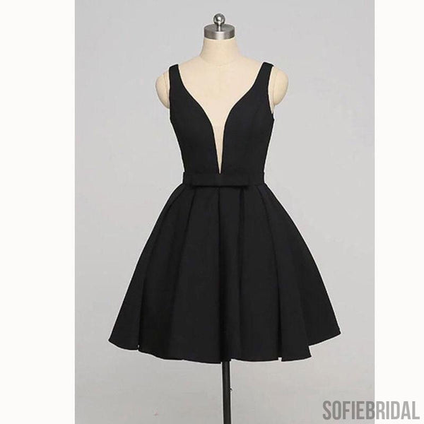Simple Black V Neck Short Cheap Custom Homecoming Dresses 2018, CM420