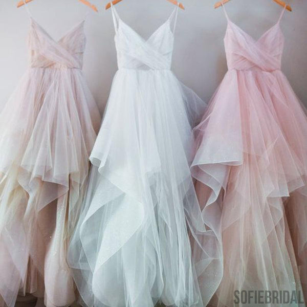 Spaghetti Chic Tulle Prom Dresses, Long Prom Dresses, Cheap Prom Dresses, PD0321