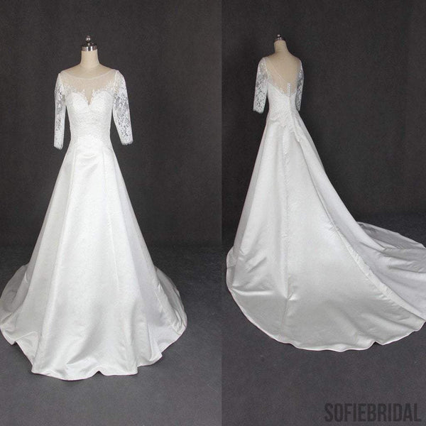 Round Neck Half Sleeve Lace Satin Elegant Long A-line Wedding Dresses, WD0226