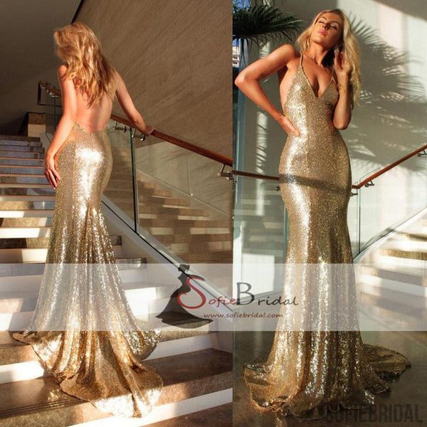 Spaghetti Gold Sequin Long Mermaid Backless Prom Dresses, Formal Evening Gown, PD0366