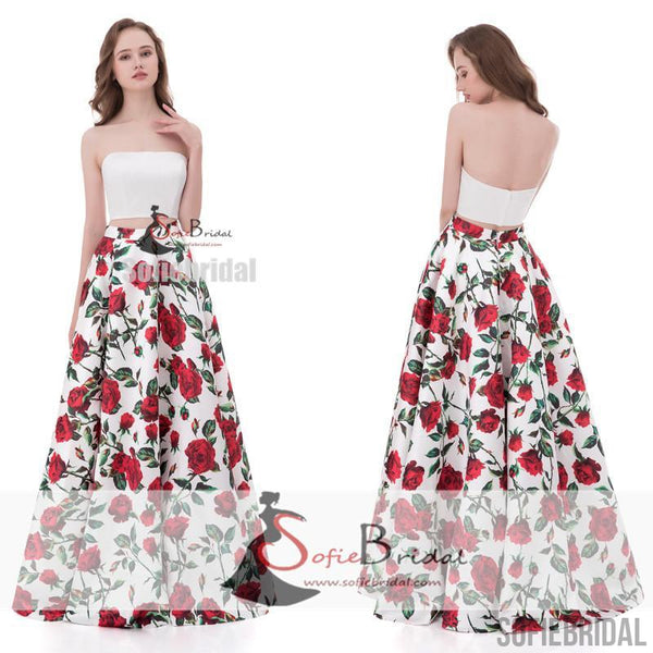 White Top Straight Neckline 2 Pieces Floral Long A-line Prom Dresses, Evening Dresses, PD0370