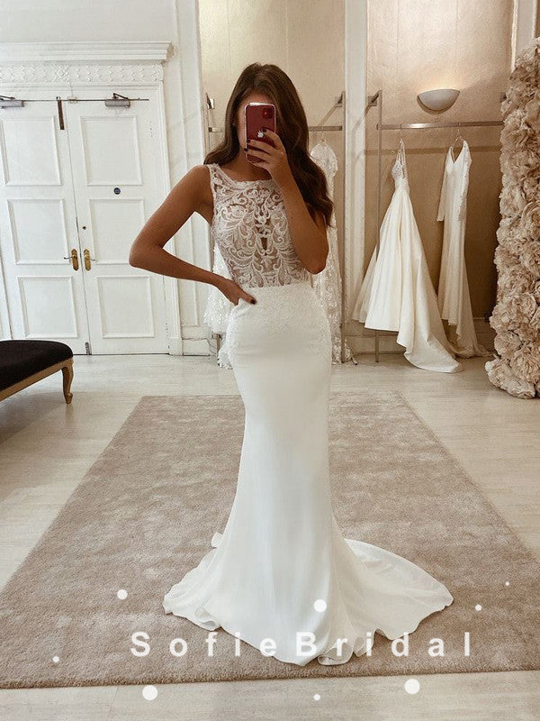 Mermaid Square Neckline Sleeveless Long Wedding Dresses With Lace,SFWD0002