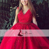 V-neck Red Lace Beaded Prom Dresses, A-line Elegant Prom Dresses, Prom Dresses, PD0397