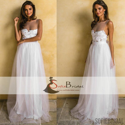 Simple Design Scoop Neck Long Sleeve Long A Line Tulle: Wedding Dresses, Country Wedding Dresses, 2 Piece Wedding