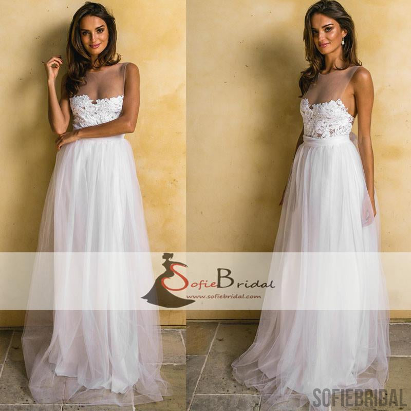 Simple Design Lace Tulle A-line Wedding Dresses, Cheap Wedding ...
