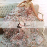 Floral Sweetheart A-line Prom Wedding Dresses, Popular Prom Dresses, Evening Dresses, PD0375
