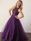 A-Line Scoop Neck Tulle Long Prom Dresses,SFPD0092