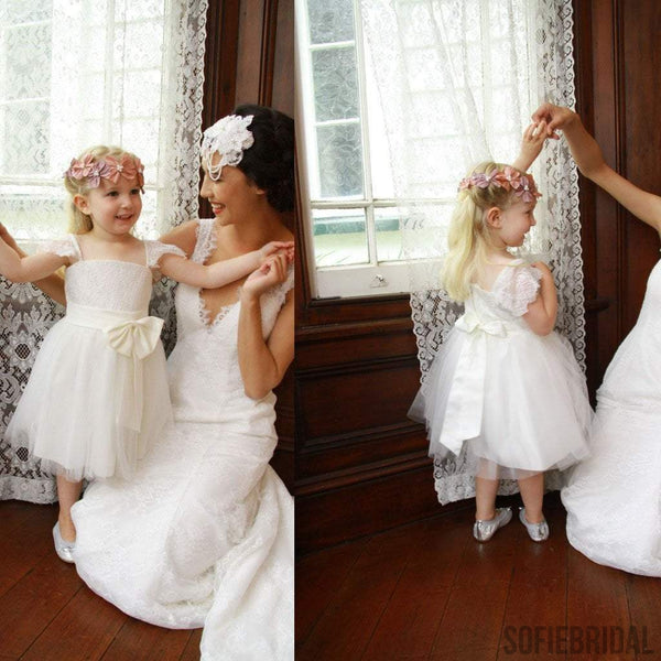 a8445c6b0a Cap Sleeve Ivory Princess A-line Lace Tulle Flower Girl Dresses With Belt