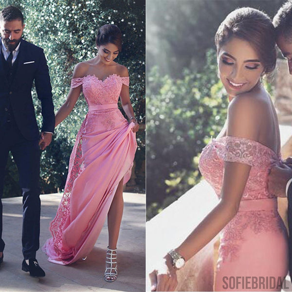 Hot Pink Off Shoulder Sexy Mermaid Lace Prom Dresses, Dresses For Prom, PD0212