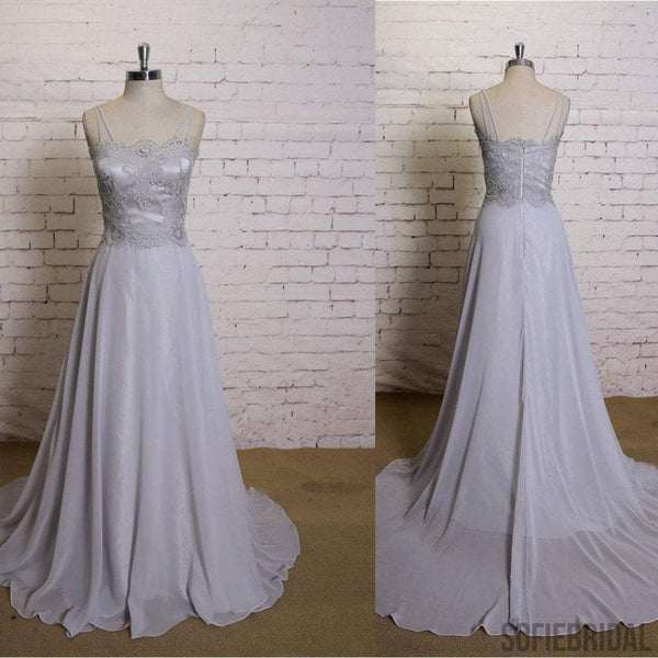 Unique Design Lace Top A-line Chiffon Simple Wedding Dresses for Summer Wedding, WD0220