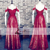 Off Shoulder Red Lace Beaded Prom Dresses, Long A-line Prom Dresses, Prom Dresses, PD0442