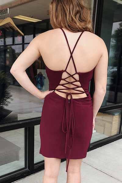 Sheath Deep V-neck Sexy Lace-up Back Short Homecoming Dress, HD0162