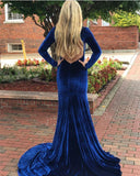 Long Sleeves V-neck Royal Blue Long Velvet Prom Dresses, Simple Prom Dresses, PD0753