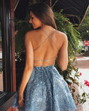 A-line Spaghetti Straps Lace Backless Short Homecoming Dress, HD0161