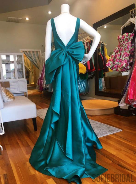 Turquoise V-neck Long Mermaid Prom Dresses With Bow Knot, Prom Dresses, PD0756
