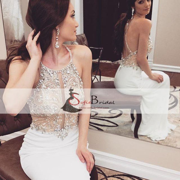 Gorgeous Rhinestone Beaded White Mermaid Jersey Long Prom Dresses, Evening Gown, PD0377