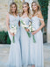 Mismatched Different Styles Chiffon Pale Blue Sexy A Line Floor-Length Cheap Bridesmaid Dresses, WG104