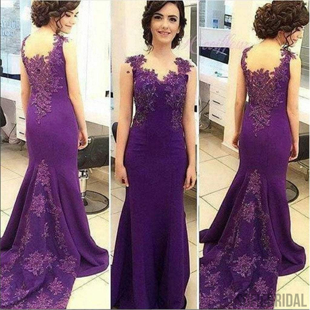 Purple Soft Satin Lace Beaded Sleeveless Mermaid Newest 2017 Prom Dresses, PD0267