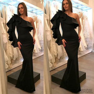 Black One Shoulder Sexy Mermaid Satin Long Prom Dresses, Cheap Prom Dresses, PD0345