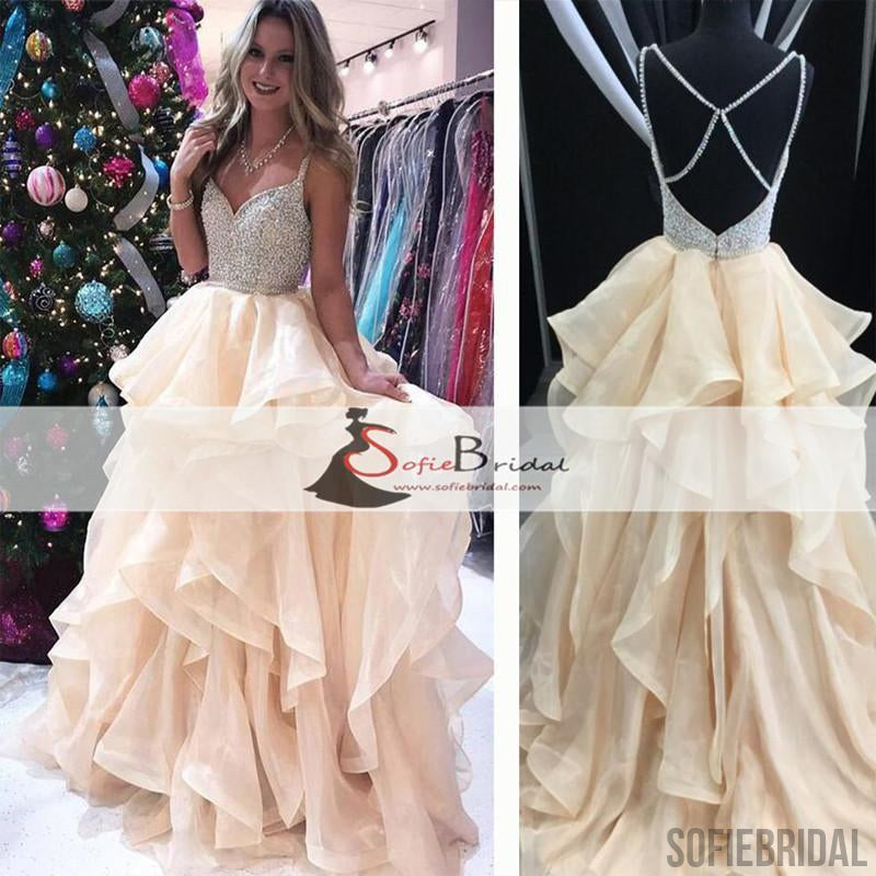 Spaghetti Beaded Top Organza Prom Dresses, Lovely Dresses, Popular Prom Dresses, PD0463