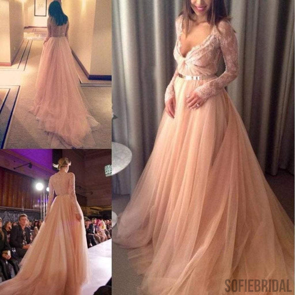 Sexy V-neck Long Sleeve Lace Long A-line Prom Dresses, Long Prom Dresses, PD0218