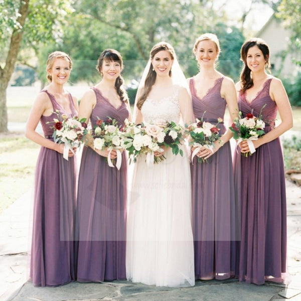 Long A-line V-neck Sleeveless Lace Chiffon Elegant Bridesmaid Dresses, Wedding Guest Dresses, WG171