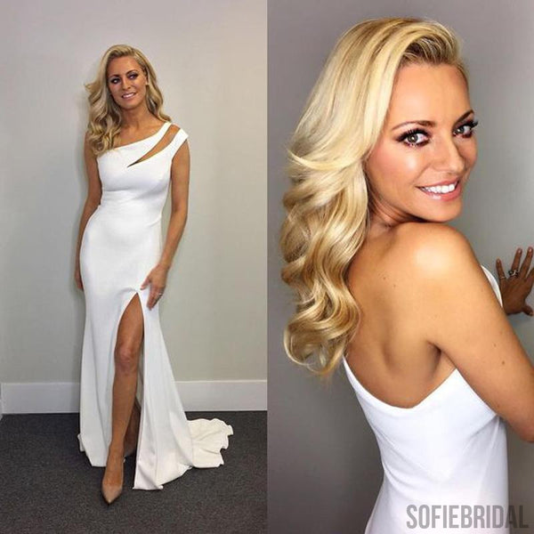 Newest Gorgeous White Mermaid Side Slit Elegant Prom Dresses, One Shoulder Evening Dresses, PD0351