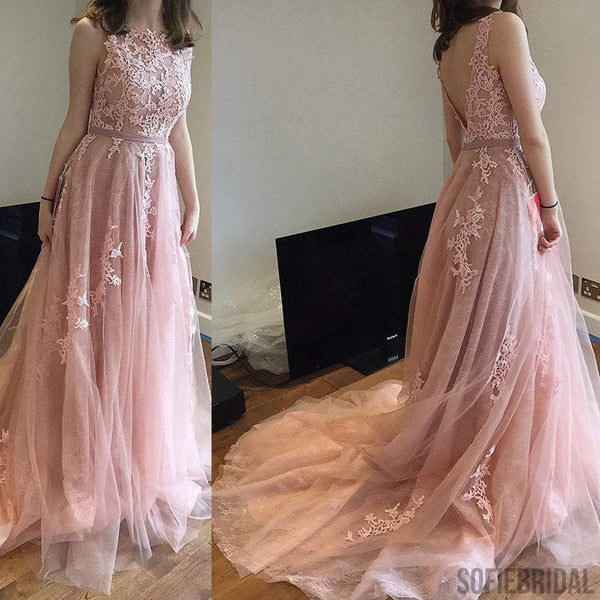 Charming Pink Lace Tulle Long A-line V-back Elegant Little Train Wedding Dresses, WD0120