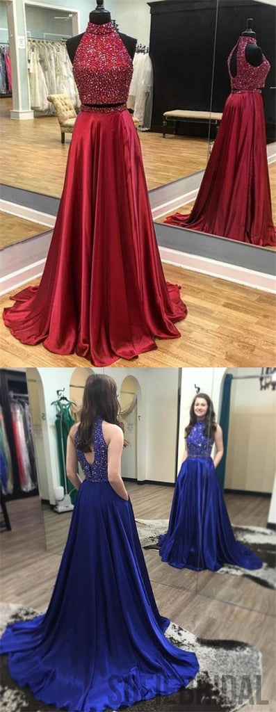 2 Pieces Prom Dresses, High Neck Prom Dresses, Rhinestone Prom Dresses, Long Prom Dresses, PD0663