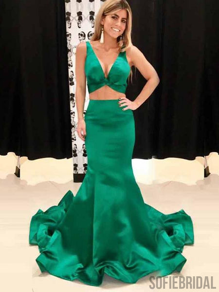 2 Pieces Emerald Green Satin Mermaid V-neck Prom Dresses, PD0865